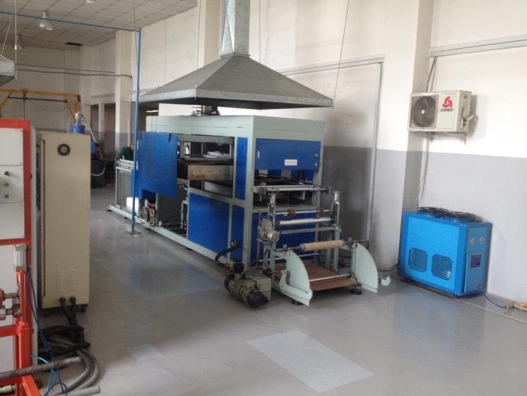 B. Производственная автоматическая линия по производству пластиковой посуды вакуумированием листов в формы.